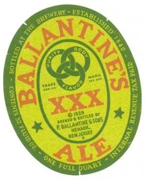 Ballantine XXX Ale beer Label Full Size