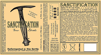Russian River Sanctification beer Label Full Size
