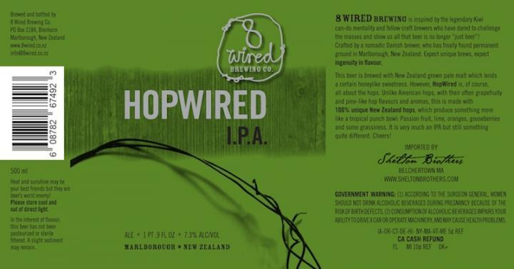8 Wired Hopwired IPA beer Label Full Size