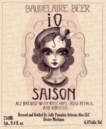 Jolly Pumpkin Baudelaire Series iO Saison beer Label Full Size