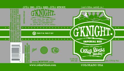Oskar Blues G'Knight beer Label Full Size