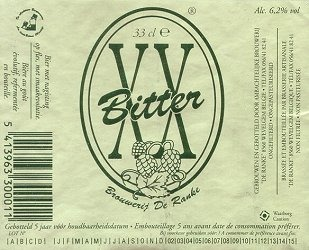 De Ranke XX Bitter beer Label Full Size