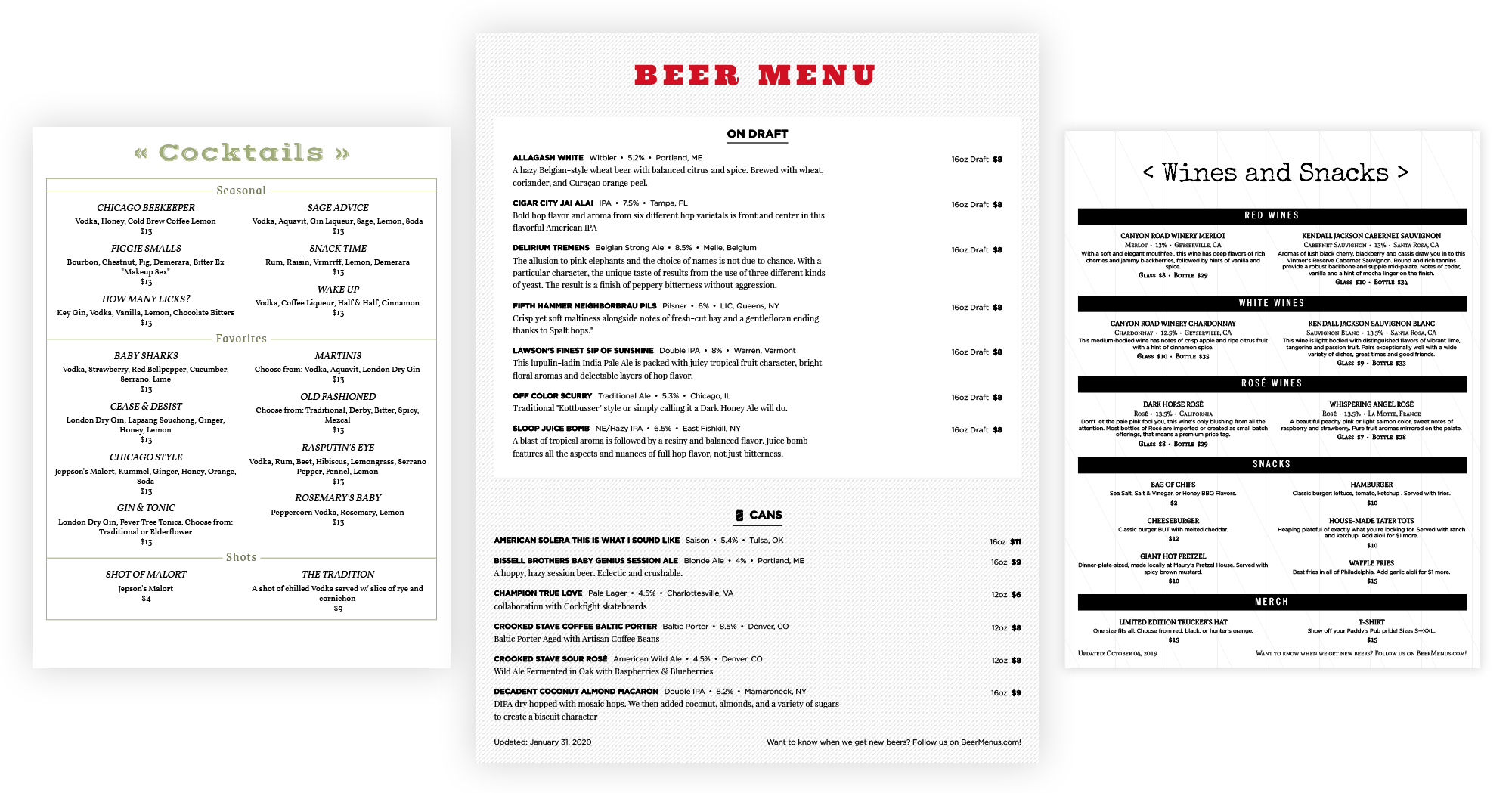drink menu template examples