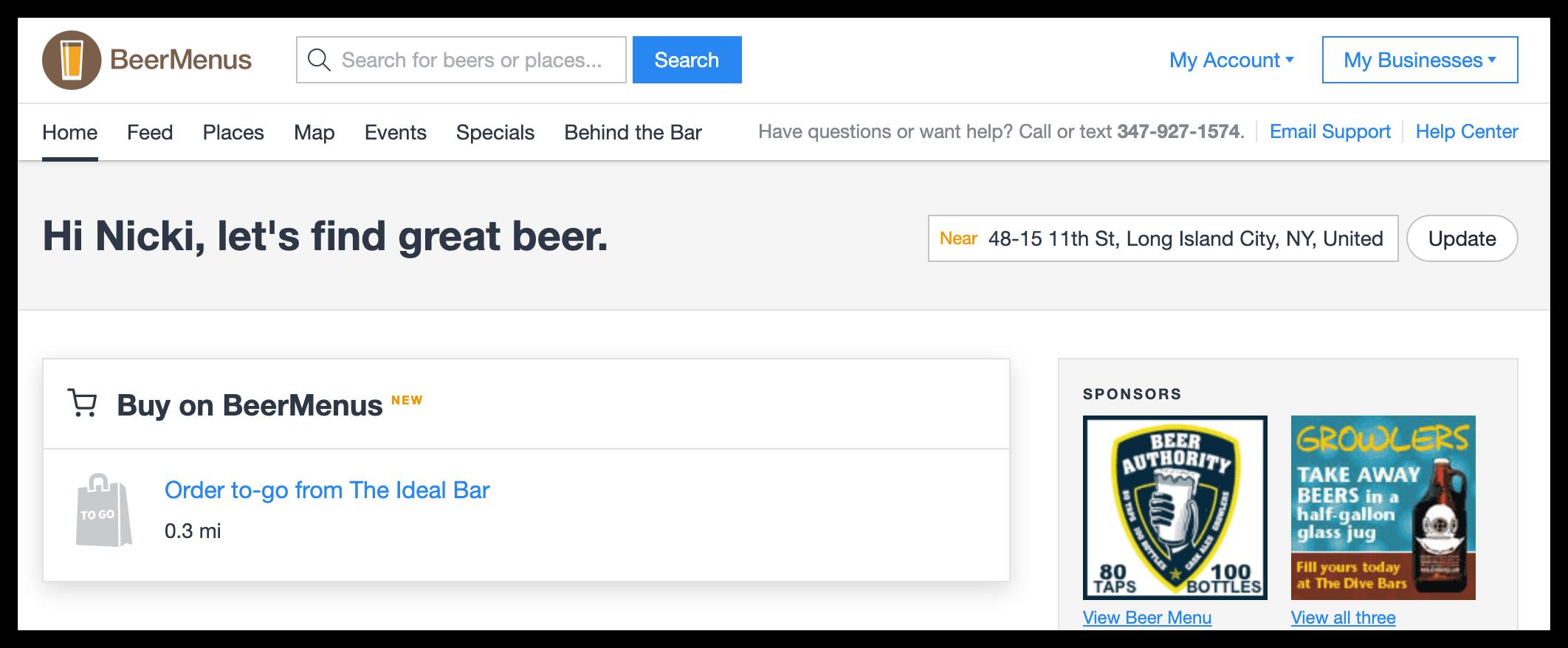Sell beer to-go on BeerMenus