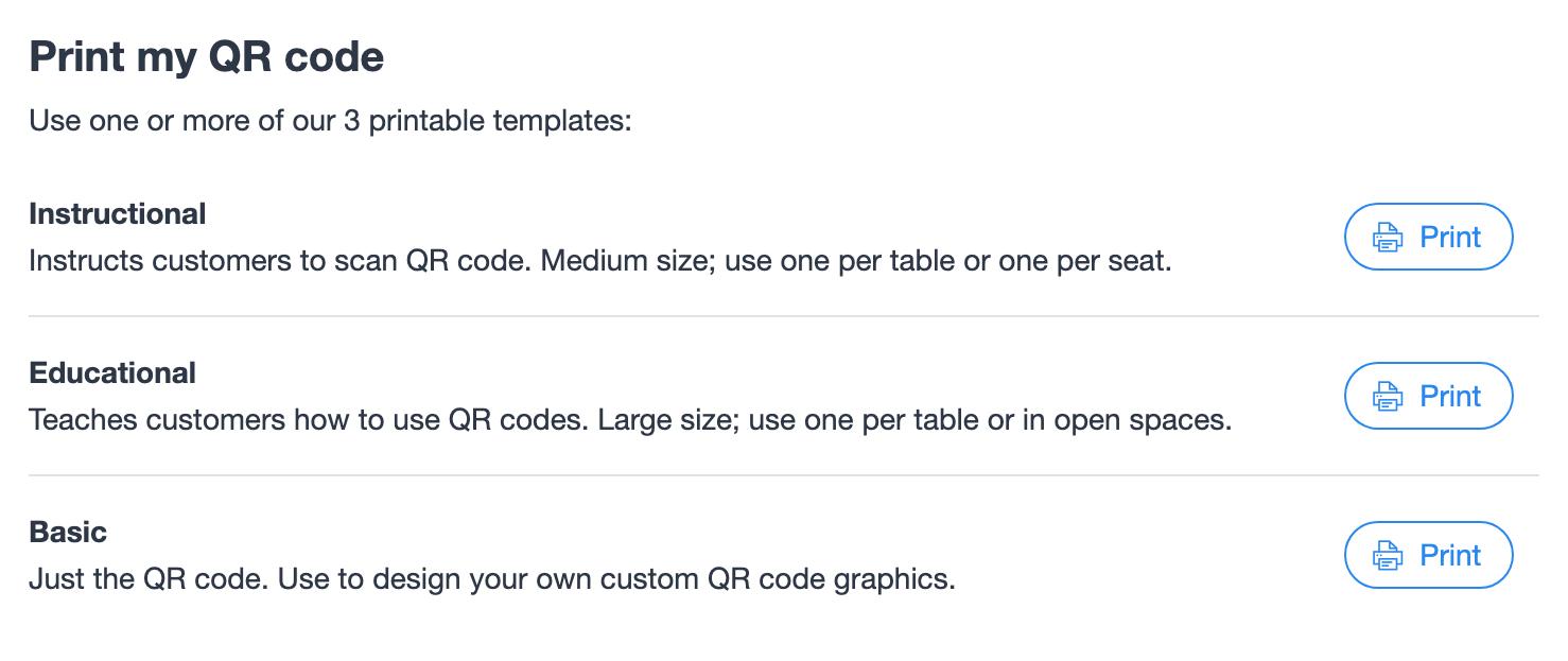 QR code menu