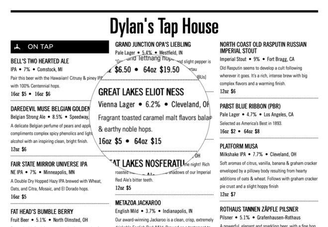 Information on beer menu
