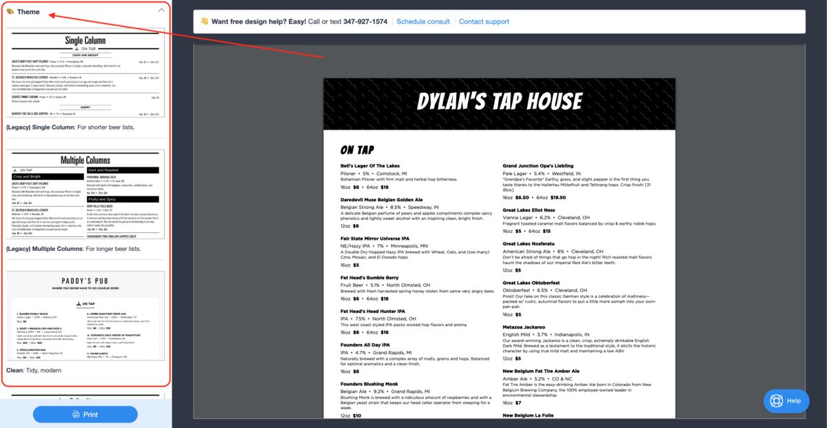 Restaurant menu design themes