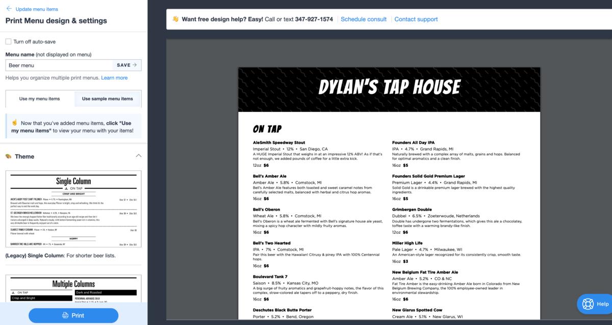 Restaurant menu design preview