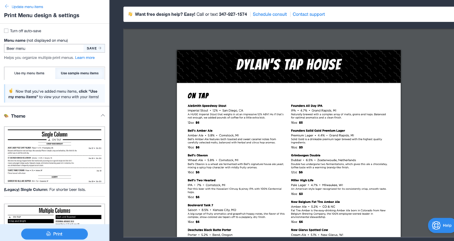 Beer menu template preview