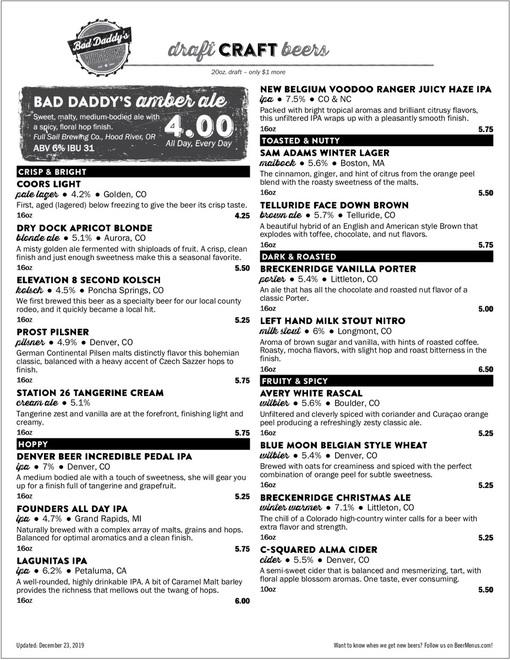 Beer menu template
