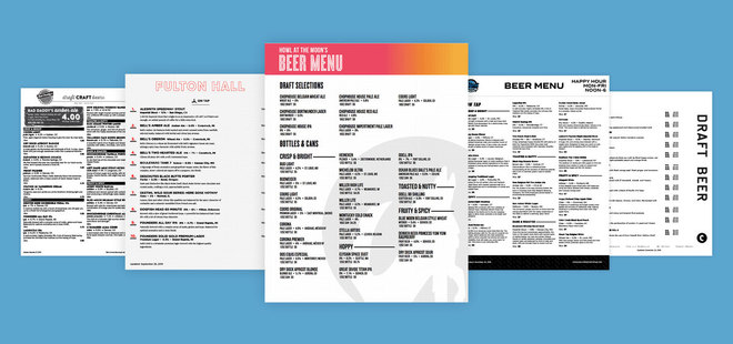 Custom beer menu templates