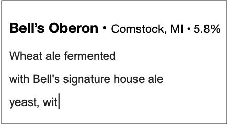 Typing a beer description