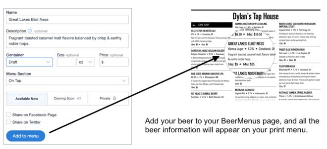 Beer Menu template with beer descriptions