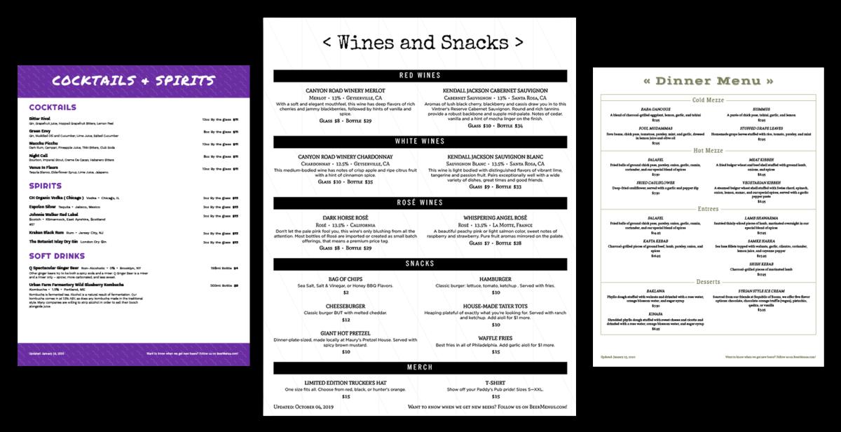 Restaurant menu design examples