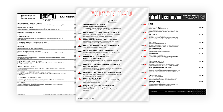 restaurant drink menu design