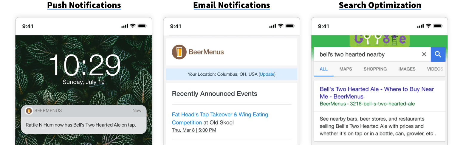 BeerMenus online marketing tools