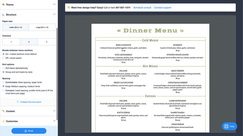 Preview restaurant menu design make food drink menus in one place 4b4c3942